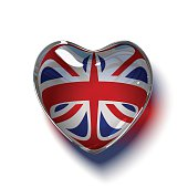 Glass British heart isolated on white.