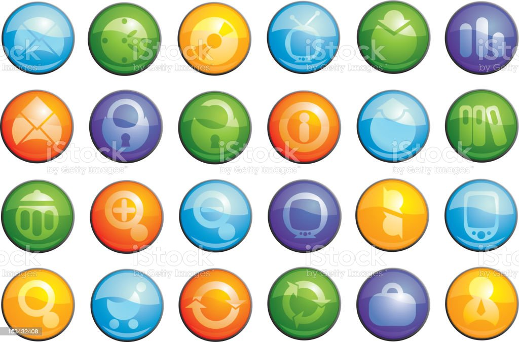 glass business icons set royalty-free stock vector art