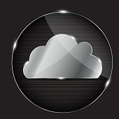 Vector glass button with cloud icon  EPS10. Contains transparent objects used for shadows drawing, glare and background. Background to give the gloss.