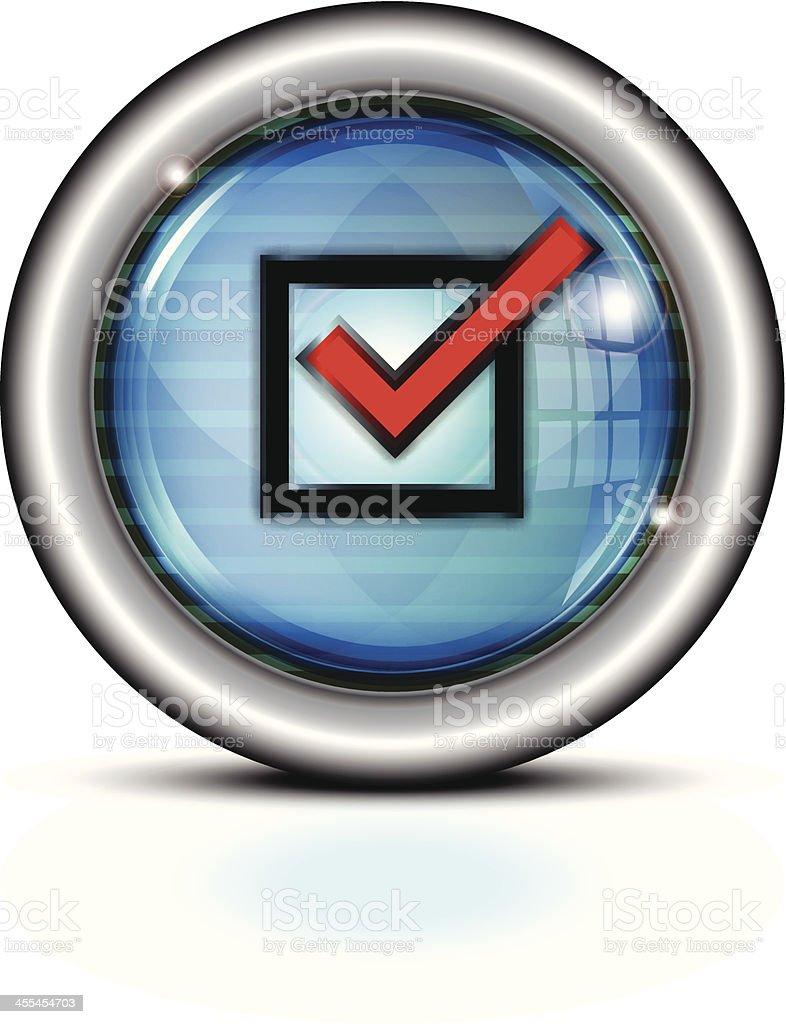 Glass Button Metal Rim | Check Mark royalty-free stock vector art