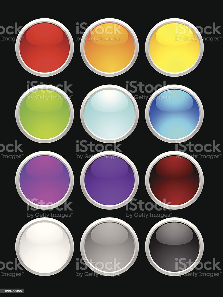 Glass Button Pick a Color royalty-free glass button pick a color stock vector art & more images of circle