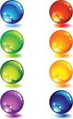Vector illustration - Eight glass colour button