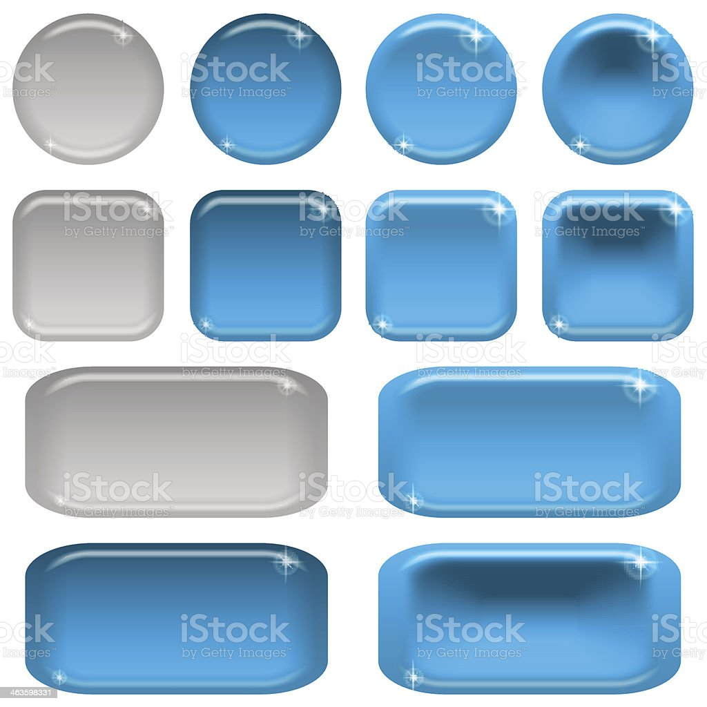 Glass buttons, set royalty-free glass buttons set stock vector art & more images of blue