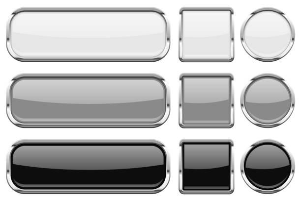 크롬 프레임 유리 버튼입니다. 빛나는 3d의 웹 아이콘 - 크롬 stock illustrations