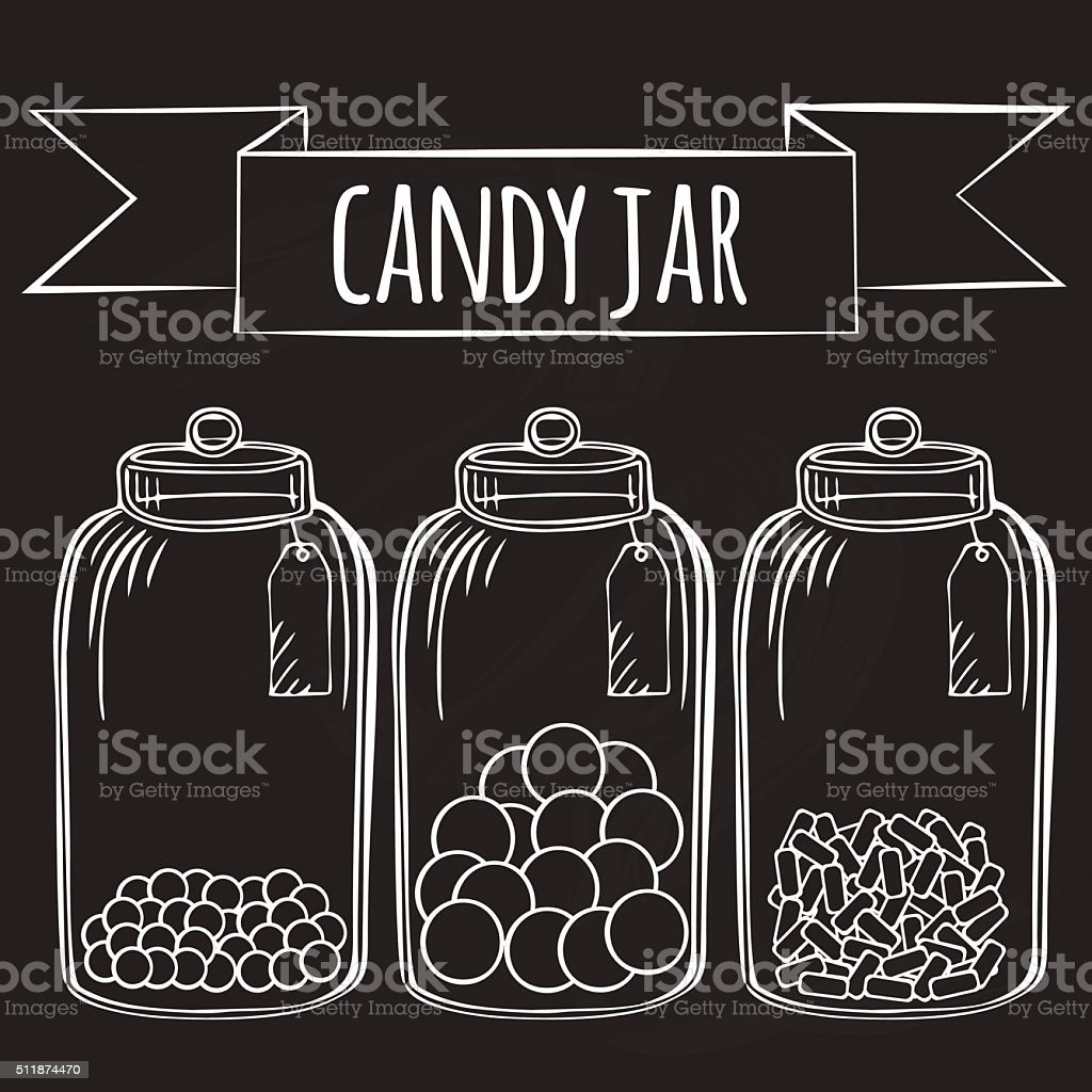 Glass candy jar vector art illustration