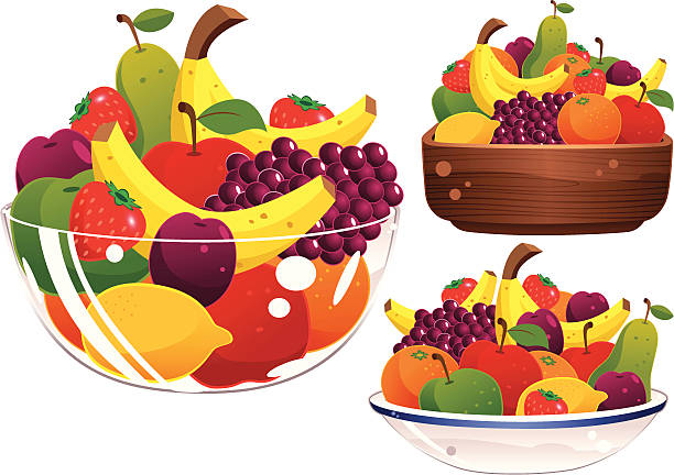 Glass, ceramic and wooden fruit bowls Three isolated and different fruit bowls, plus assorted fruit. One glass, one ceramic and one wooden dish. serving dish stock illustrations