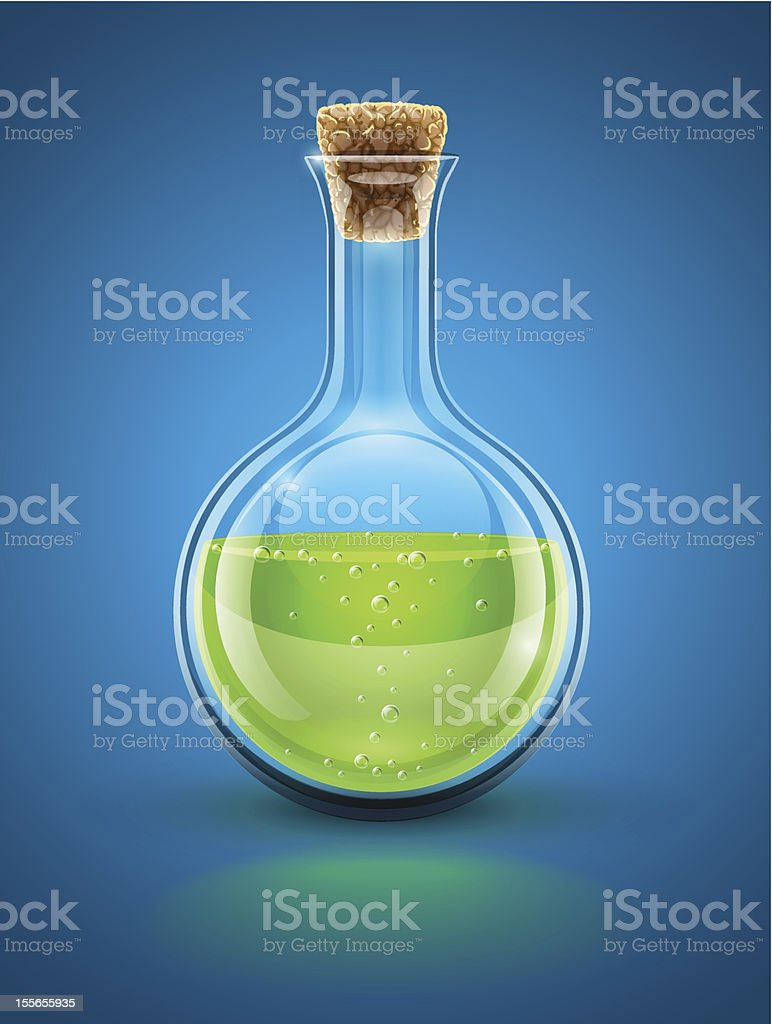 glass chemical flask with green toxic liquid royalty-free stock vector art