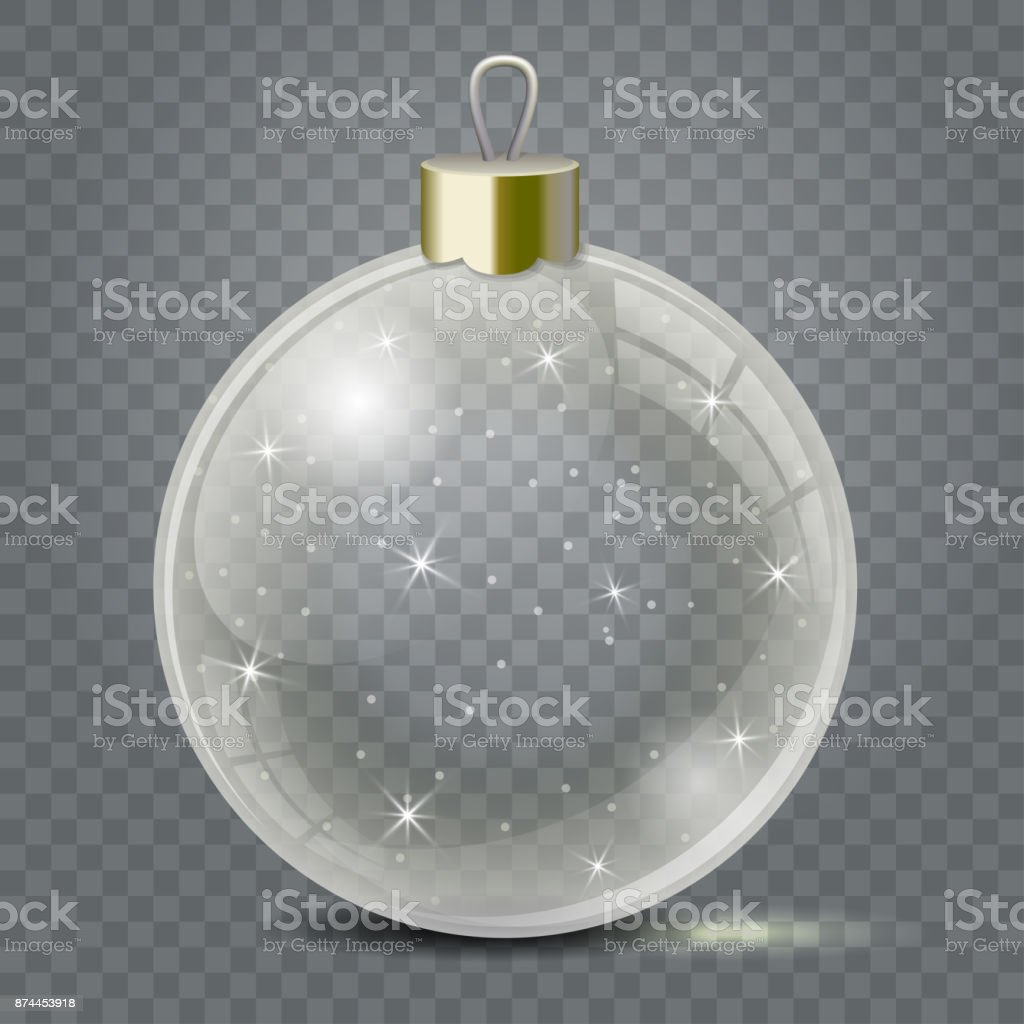 Glass Christmas toy on a transparent background. Stocking Christmas decorations or New Years. Transparent vector object for design, mock-up. royalty-free glass christmas toy on a transparent background stocking christmas decorations or new years transparent vector object for design mockup stock illustration - download image now