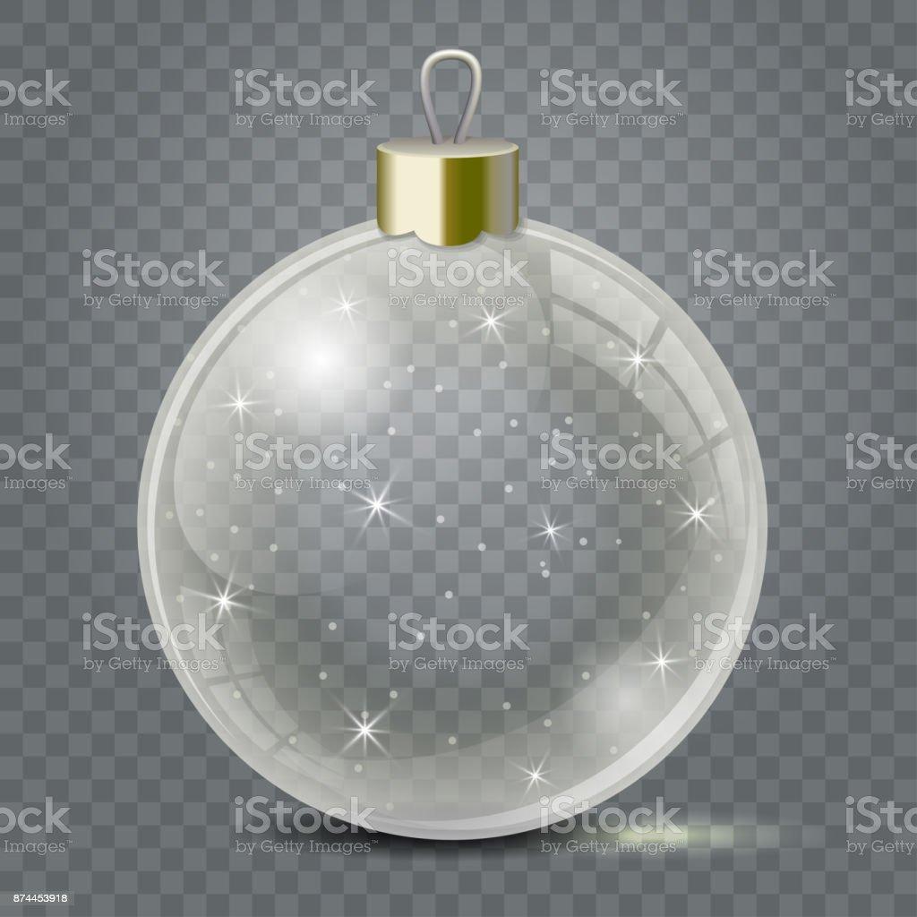 Juguete de Navidad de vidrio sobre un fondo transparente. Siembra de decoraciones de Navidad o año nuevo. Objeto de vector transparente de diseño, maqueta. - ilustración de arte vectorial