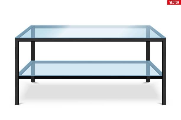 ilustrações de stock, clip art, desenhos animados e ícones de glass coffee table isolated on white background. - coffee table