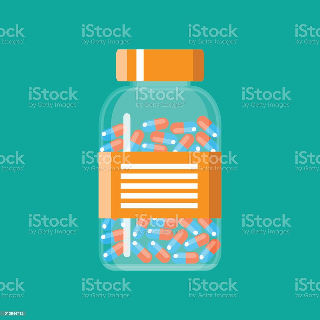 Glass container with medical pills capsules vector art illustration