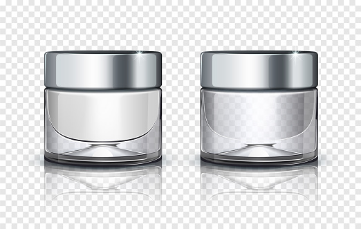 Glass cosmetic jar with silver lid isolated on transparent background. Vector illustration