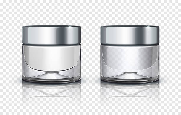 Glass cosmetic jar with silver lid isolated on transparent background. Vector illustration Glass cosmetic jar with silver lid isolated on transparent background. Vector illustration jar stock illustrations