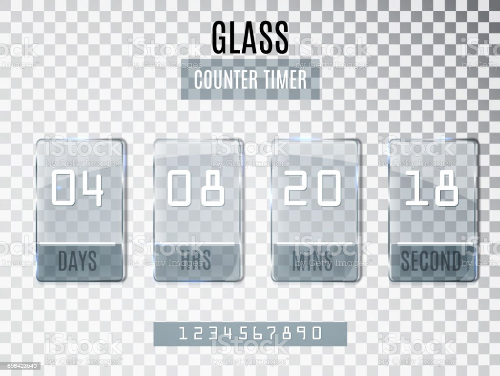 Glass Counter Timer isolated on transparent background. Template of the beginning end date of discounts and promotions. Clock counter. vector art illustration