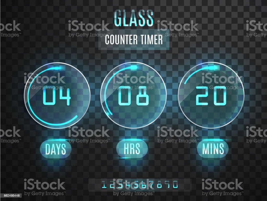 Glass Counter Timer Transparent Vector Countdown Timer Isolated On ...