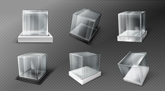 Glass cube boxes, clear acrylic showcases
