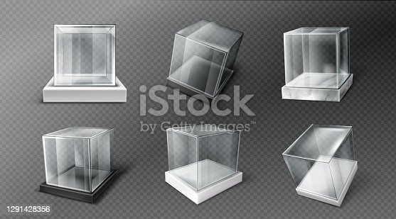 Glass cube boxes on black, white and marble stand. Empty clear square showcases on plastic podiums. Vector realistic mockup of 3d acrylic or plexiglass boxes isolated on transparent background