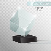 Glass cube on a stand.  Glass Trophy Award. Vector illustration isolated on transparent background. Presentation of a new product. Realistic 3D design.  Realistic vector transparent object 10 eps