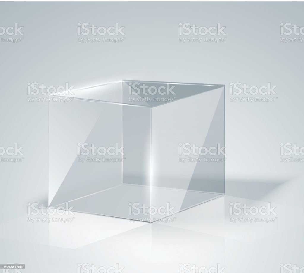 Glass Cube. Transparent Cube. Isolated. vector art illustration