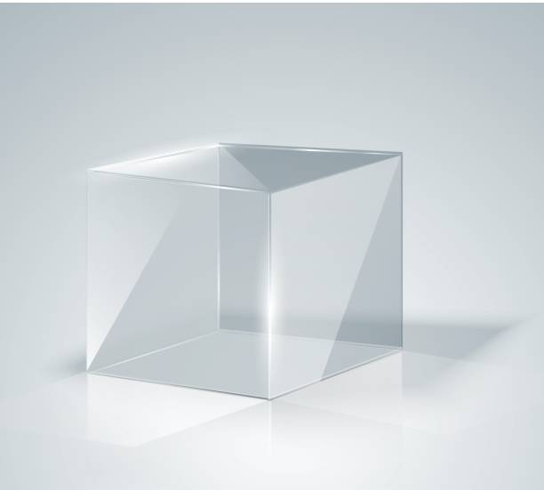 glass cube. transparent cube. isolated. - boxes stock illustrations, clip art, cartoons, & icons
