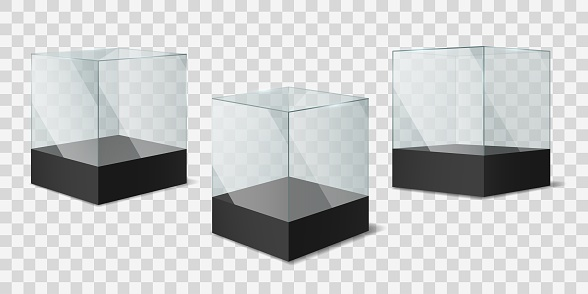 Glass Cube. Transparent shiny cubes on black pedestal, empty showcases for object exhibition mockup, museum exposition square boxes for presentation products realistic vector templates set