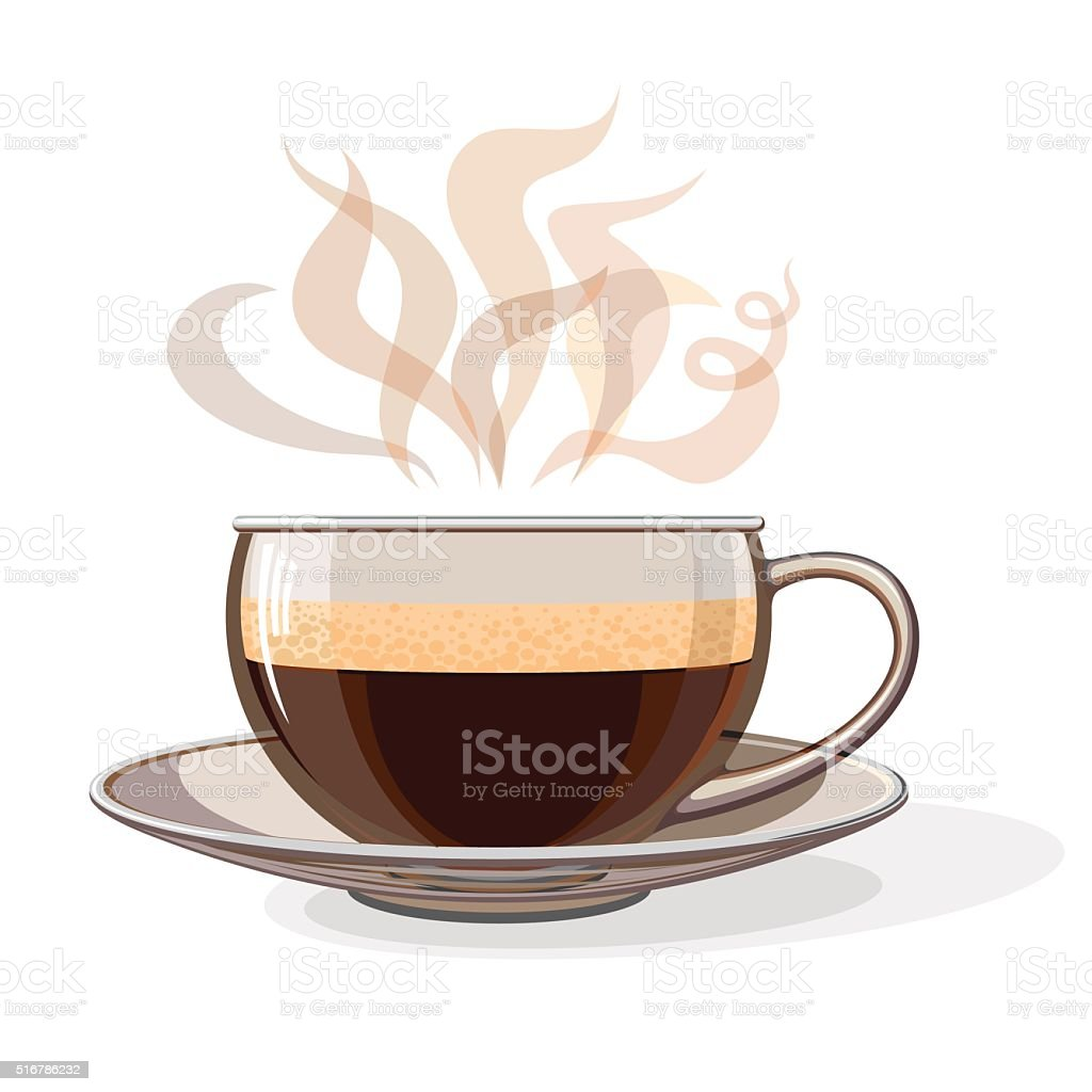 Glass cup of coffee vector art illustration