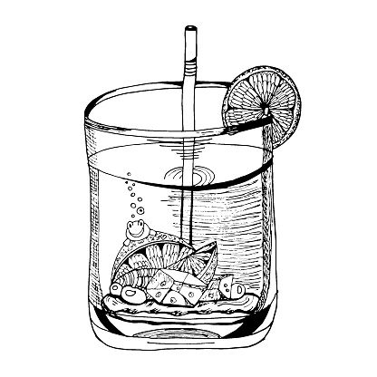 glass cup with a drink inside