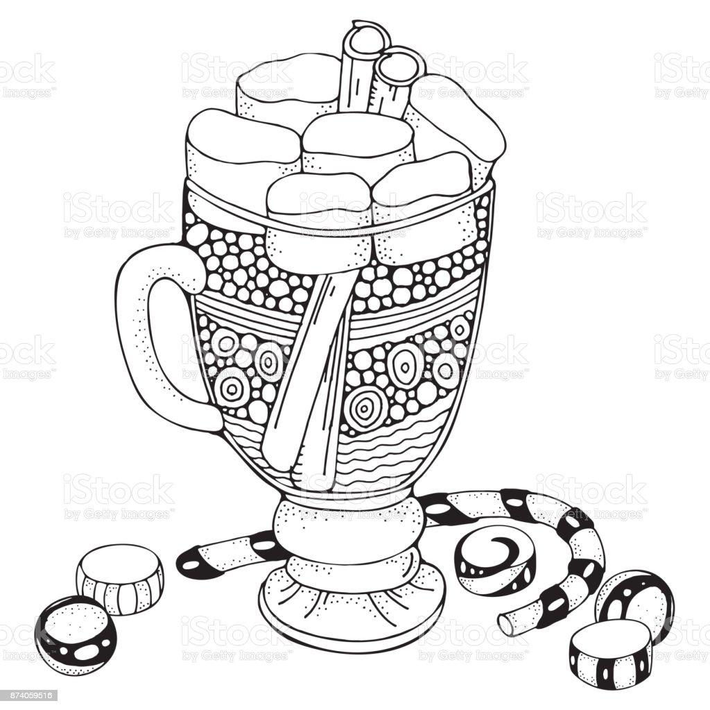 Cam Fincan Kahve Ve Hatmi Ile Noel Dekorasyonu Yetişkin Renklendirme