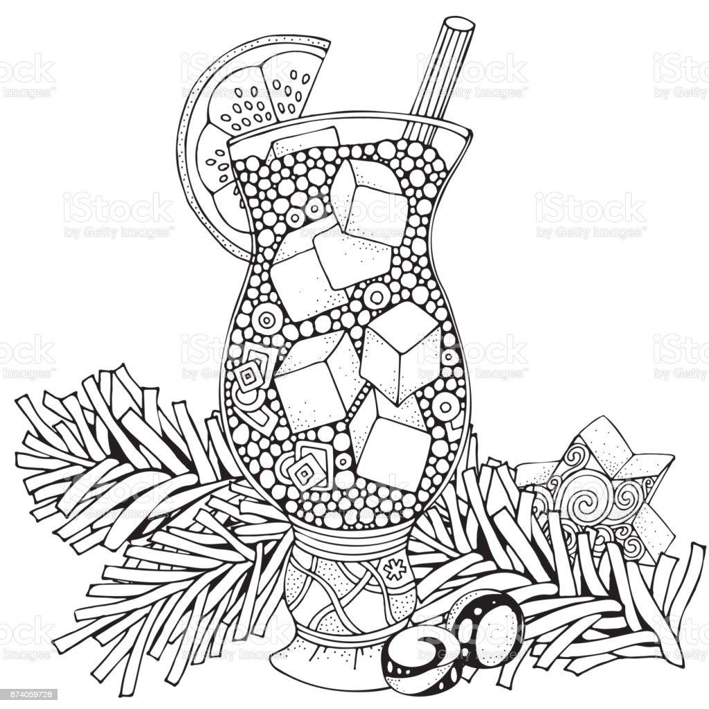 Ilustración de Vaso Con Limonada Y Hielo Adultos Página De Libro ...