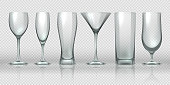 Glass cups. Empty transparent glasses and goblet mockups, realistic 3D bear pint and cocktail glassware. Vector glass cup set