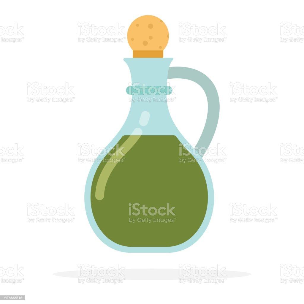 Glass decanter for olive oil - ilustração de arte vetorial