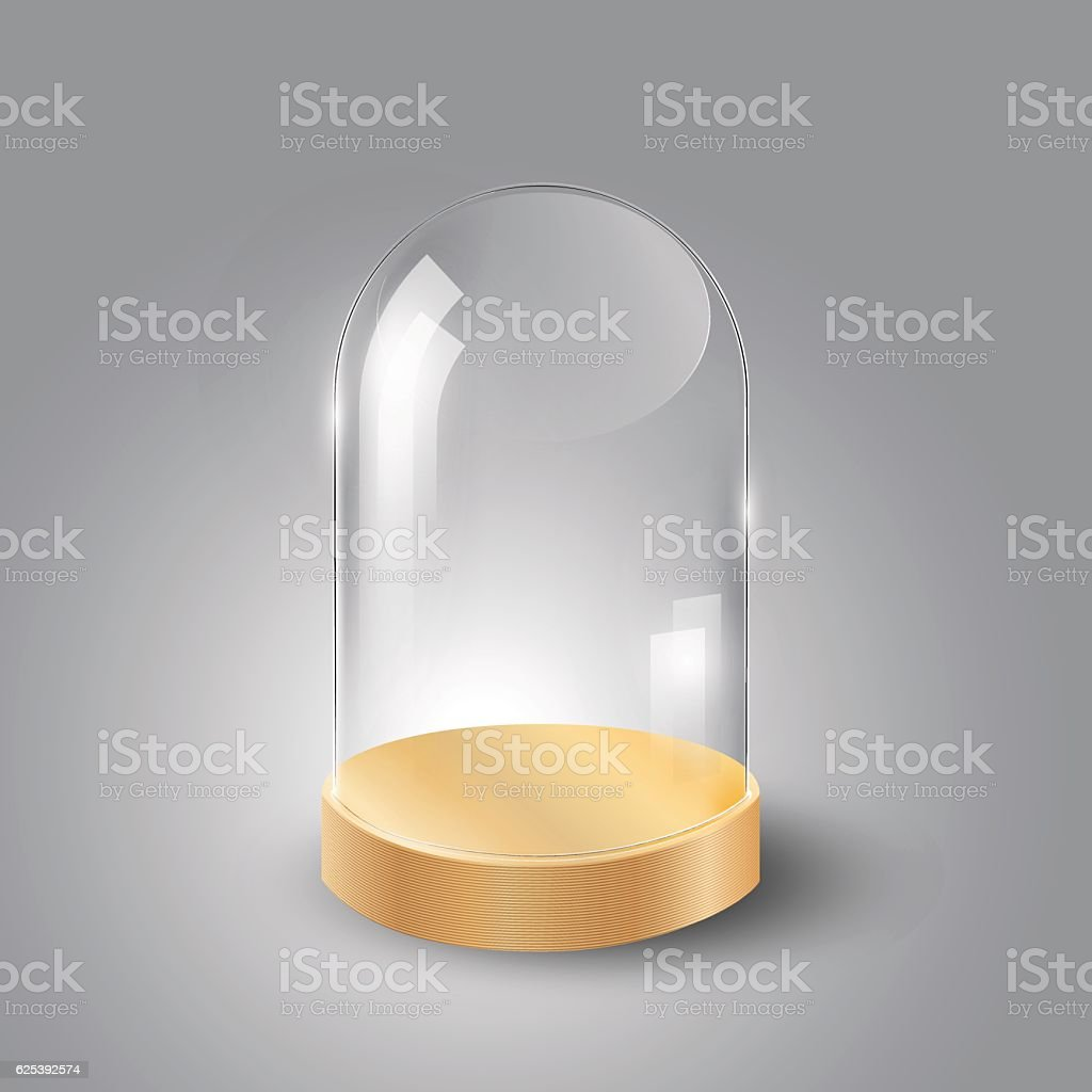 Glass dome and wood tray, transparent vector vector art illustration