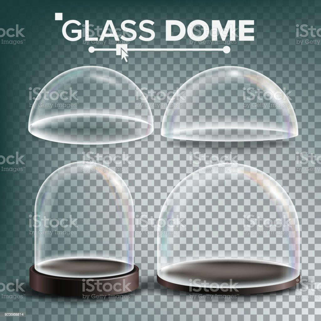 Glass Dome Set Vector. Advertising, Presentation Design Glass Element. Different Types. Empty Glass Crystal Dome. Template Mockup. Isolated Transparent Illustration vector art illustration