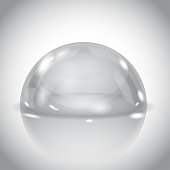 Glass dome. Shiny transparent semi sphere on gray background. Vector 3d illustration