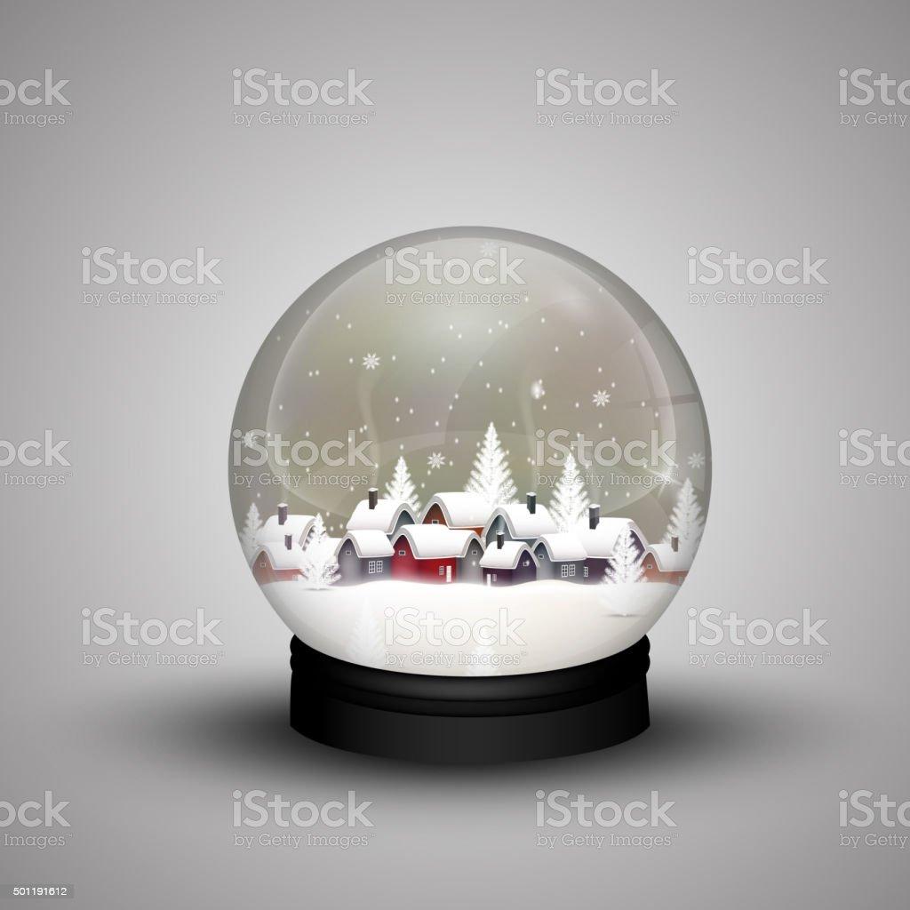 Cúpula de vidrio de invierno Navidad en casa de madera - ilustración de arte vectorial