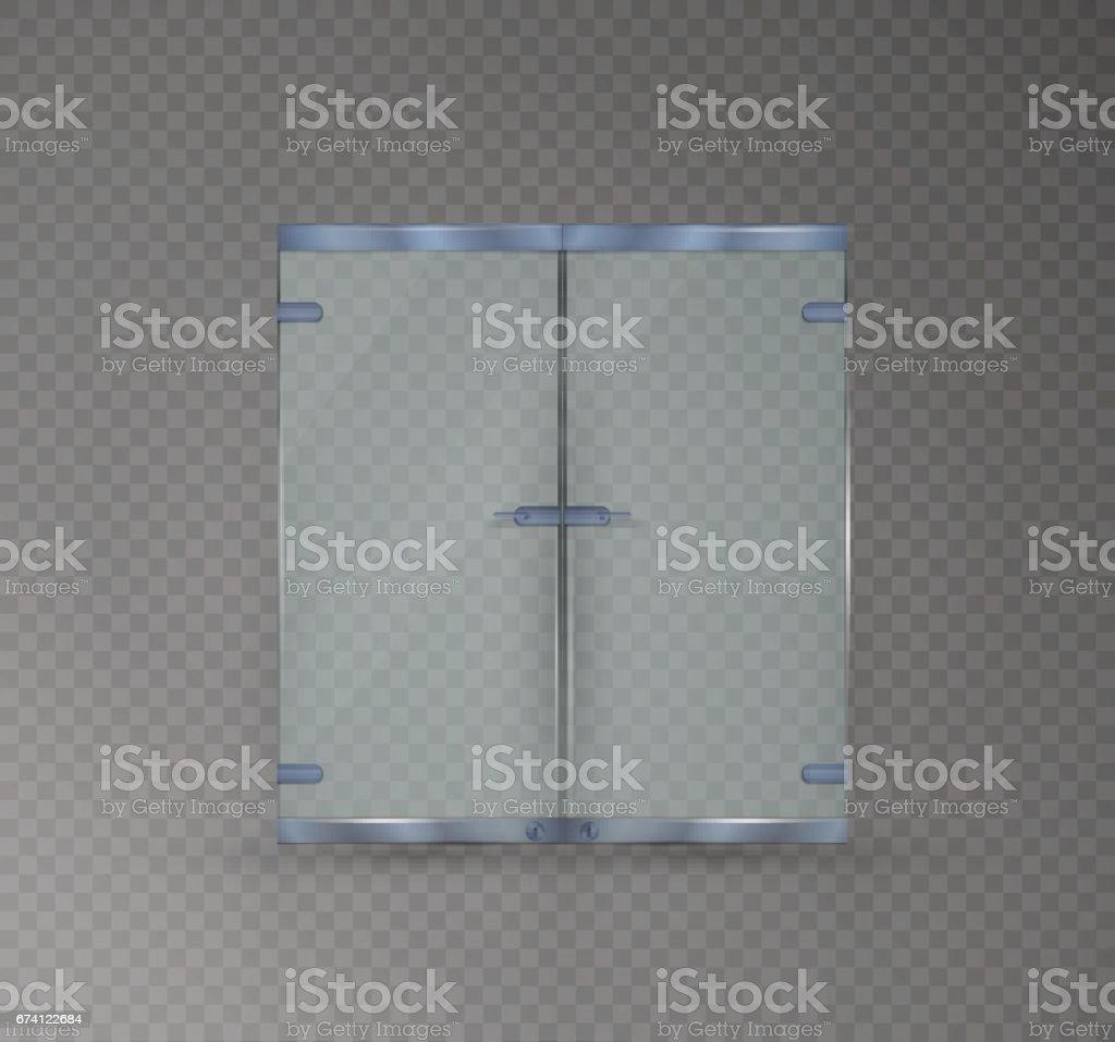 孤立在透明背景上的玻璃門。向量圖的有光澤的辦公室或精品 免版稅 孤立在透明背景上的玻璃門向量圖的有光澤的辦公室或精品 向量插圖及更多 乾淨 圖片