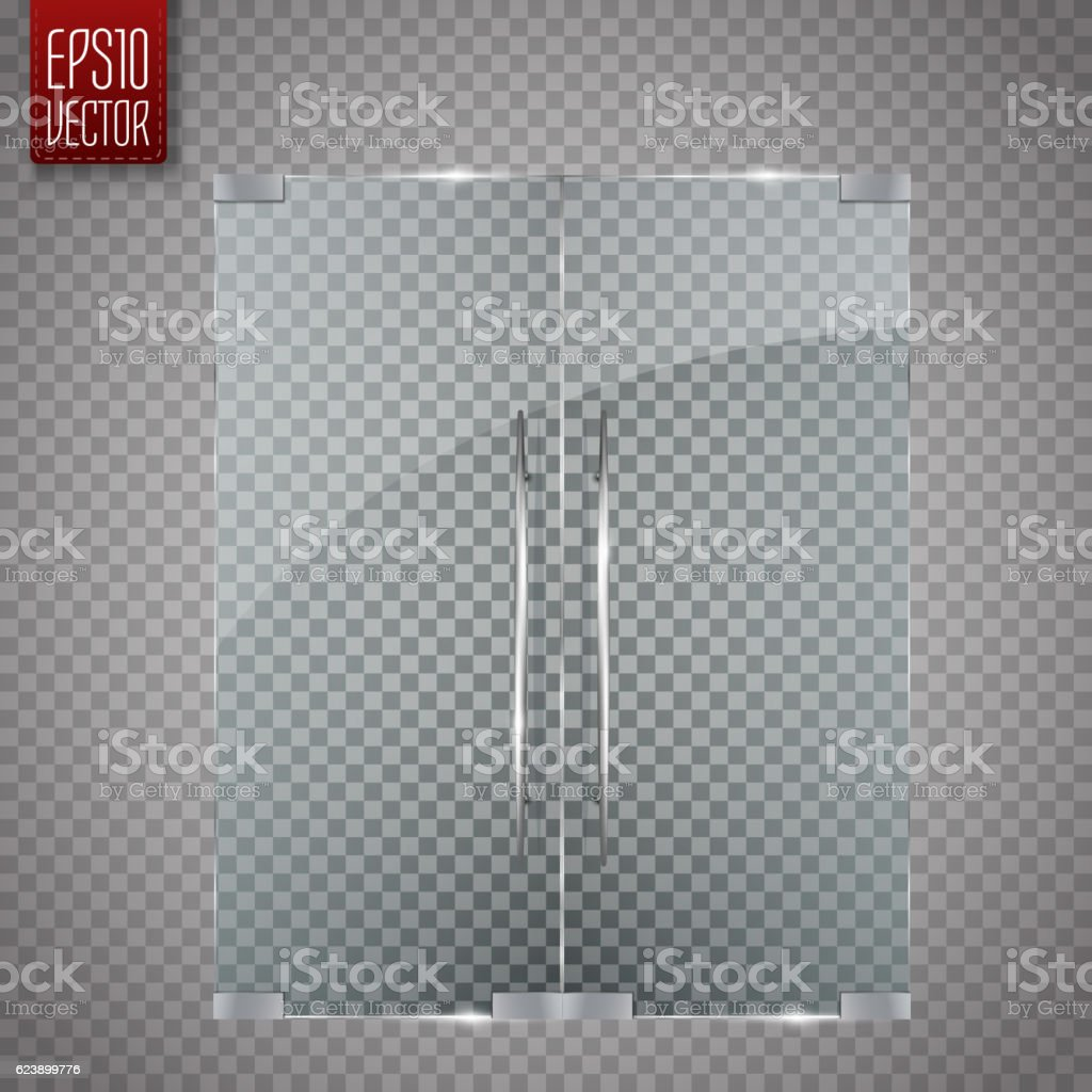 Glass door isolated on transparent background. Vector vector art illustration
