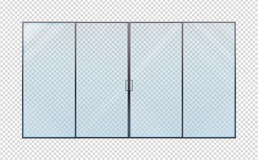 Glass door on a transparent background. vector illustration