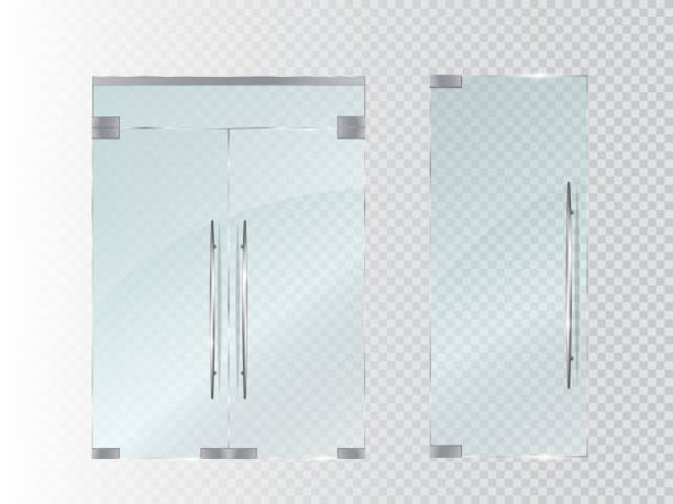 illustrations, cliparts, dessins animés et icônes de glass doors isolated on transparent background. vector - maison témoin modèle réduit