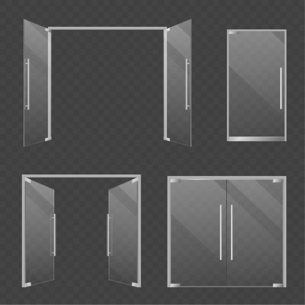 Glass doors. Realistic open and closed double glass mall and store doors. Modern architectural interior and exterior elements vector set Glass doors. Realistic open and closed double glass mall and store doors. Modern architectural interior and exterior transparent architecture elements vector set himbeeren stock illustrations
