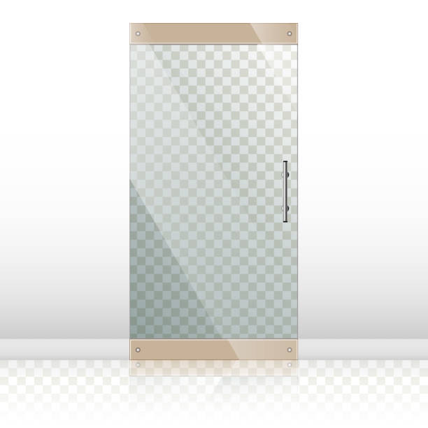 Glass doors with chrome silver handles set Vector transparent glass doors with mirror image in steel frame isolated on white wall. Architectural interior symbol. Front door EPS10 vehicle door stock illustrations