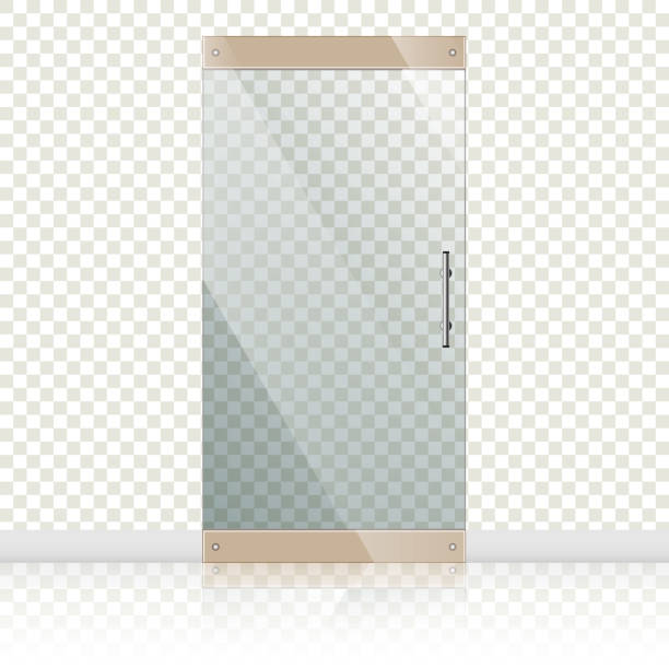 Glass doors with chrome silver handles set Vector transparent glass doors with mirror image in steel frame isolated on white wall. Architectural interior symbol.  EPS 10 vehicle door stock illustrations