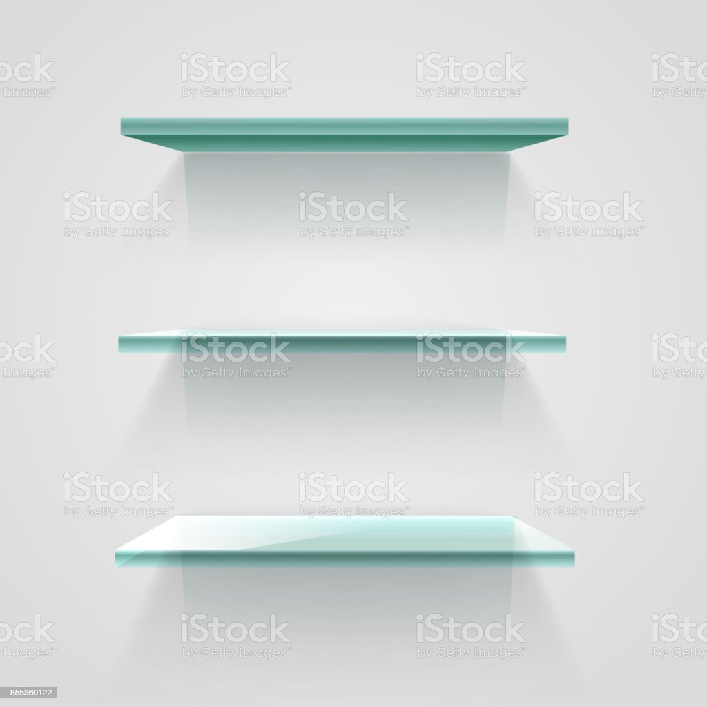Boekenplank Van Glas.Lege Schappen Van Het Glas Op De Witte Muur Vector Mockup