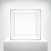 Glass empty vector showcase on white background.