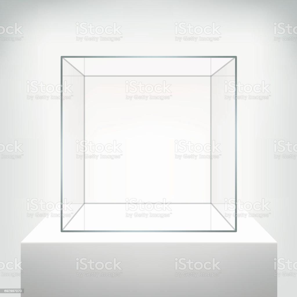 Vitrine de vecteur vide verre sur fond blanc. - Illustration vectorielle