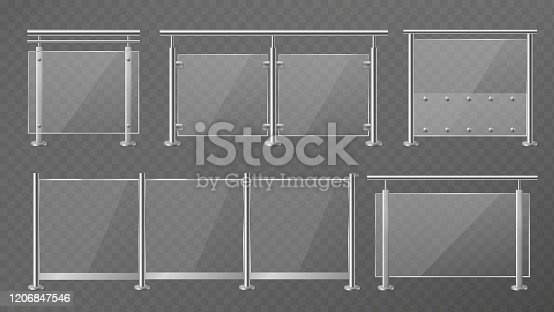 Glass fence. Transparent fencing sections with steel pillars, metal handrails and plexiglass panels for staircase, construction modern balcony or terrace vector set