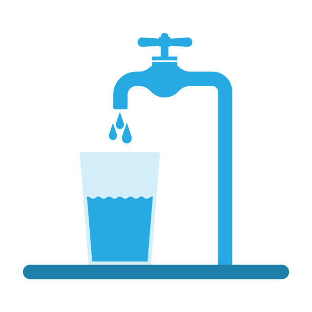 cam dokunun içme suyu ile dolu. - tap water stock illustrations