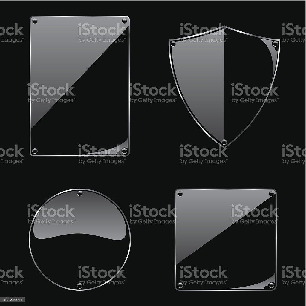 Glass frame on black background collection vector art illustration