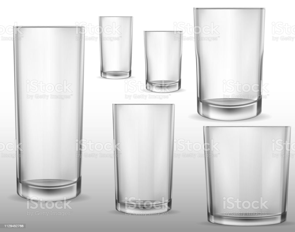 Glass glasses empty. Set of vector realistic illustrations, isolated icons. vector art illustration