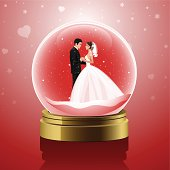 Newlyweds in romantic glass globe in gold and red. EPS 10.